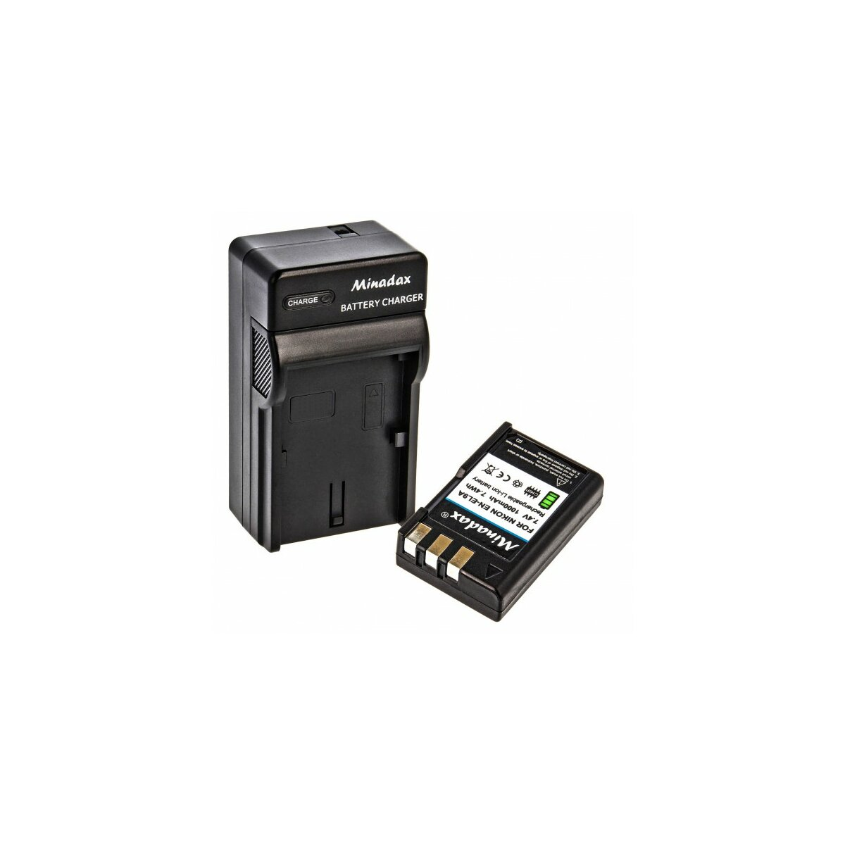 Minadax® Ladegerät 100% kompatibel mit Nikon EN-EL9a inkl. Auto Ladekabel, Ladeschale austauschbar + 1x Akku Ersatz für EN-EL9a