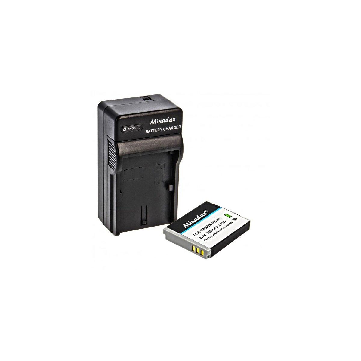 Minadax® Ladegerät 100% kompatibel mit Canon NB-6L inkl. Auto Ladekabel, Ladeschale austauschbar + 1x Akku Ersatz für NB-6L