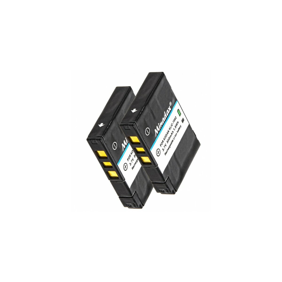 2 x Minadax® Qualitaetsakku mit echten 500 mAh fuer Kodak EasyShare V530 V603, wie KLIC-7002 - Intelligentes Akkusystem mit Chip