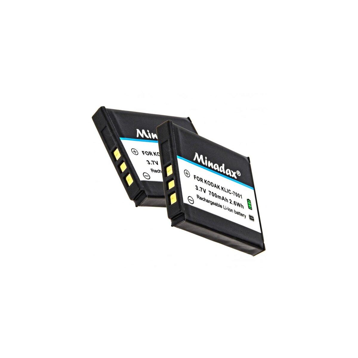 2x Minadax® Qualitaetsakku mit echten 700 mAh fuer Kodak EasyShare V550, wie KLIC-7001 - Intelligentes Akkusystem mit Chip