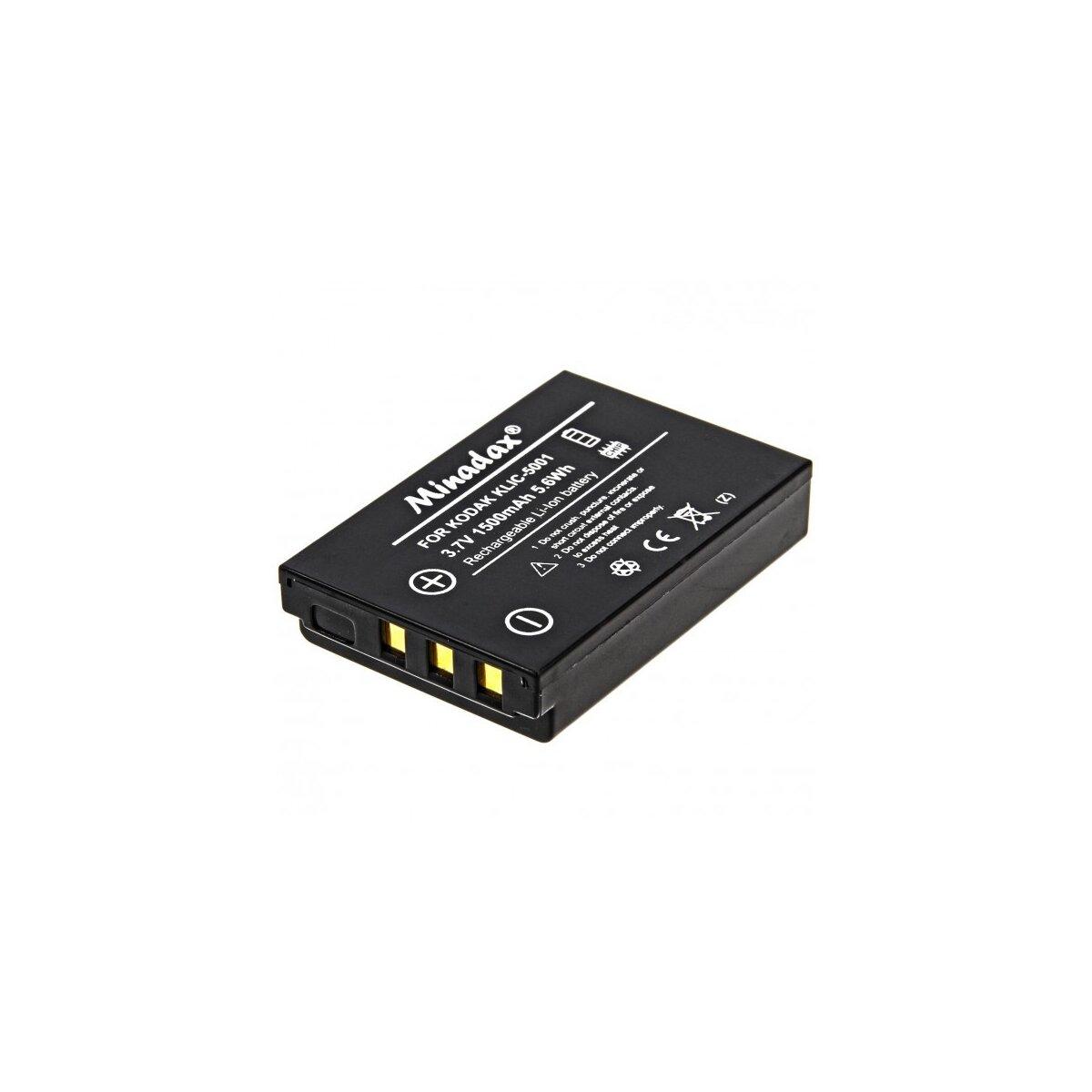 Minadax® Qualitaetsakku mit echten 1500 mAh fuer Kodak Easyshare DX6490 DX7440 DX7590 DX7630 P712 P850 P880 Z730 Z760 Z7590, wie KLIC-5001 - Intelligentes Akkusystem mit Chip