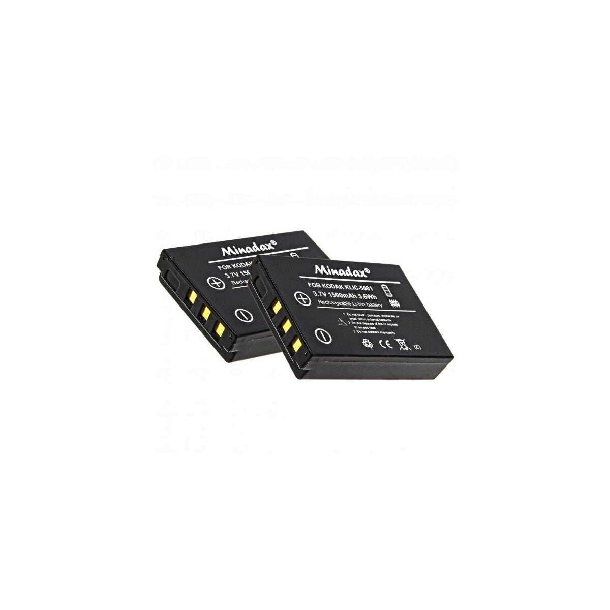 2x Minadax® Qualitaetsakku mit echten 1500 mAh fuer Kodak Easyshare DX6490 DX7440 DX7590 DX7630 P712 P850 P880 Z730 Z760 Z7590, wie KLIC-5001 - Intelligentes Akkusystem mit Chip