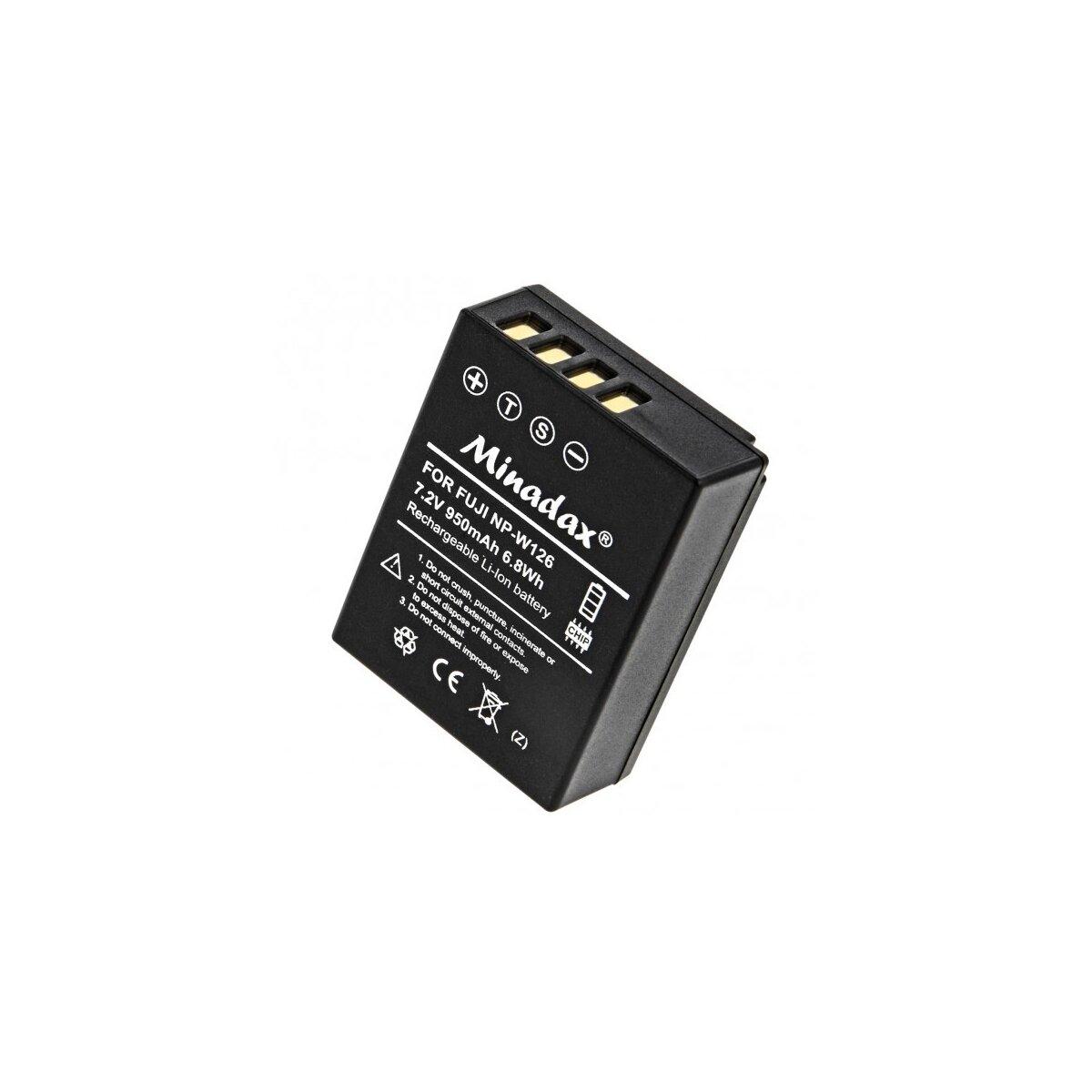 Minadax Qualitätsakku mit echten 950 mAh kompatibel für FujiFilm FinePix HS30EXR, HS33EXR, HS50EXR, X-A1, X-E1, X-E2, X-M1, X-Pro1, Ersatz für NP-W126 - Intelligentes Akkusystem mit Chip