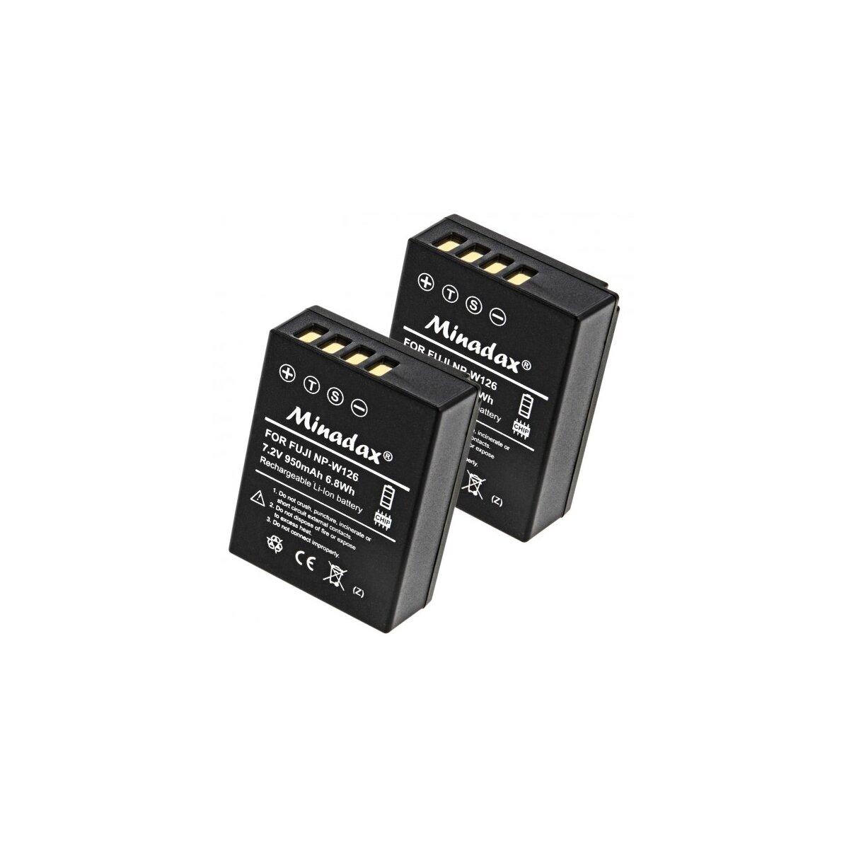 2x Minadax Qualitätsakku mit echten 950 mAh kompatibel für FujiFilm FinePix HS30EXR, HS33EXR, HS50EXR, X-A1, X-E1, X-E2, X-M1, X-Pro1, Ersatz für NP-W126 - Intelligentes Akkusystem mit Chip