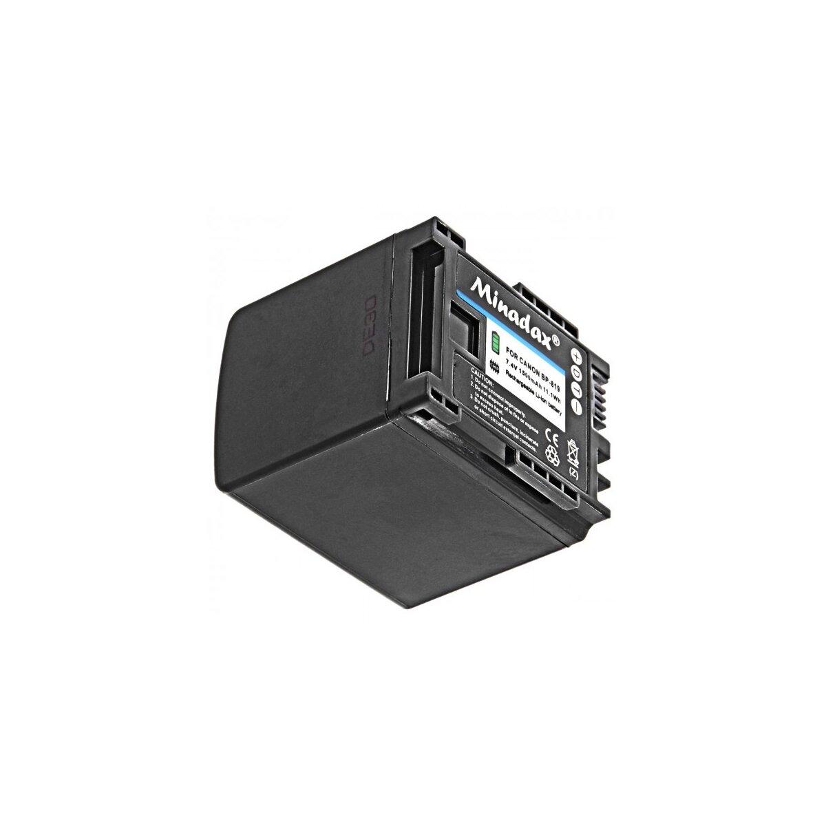 Minadax® Qualitätsakku mit echten 1500 mAh kompatibel mit Canon Canon XA20 XA25 LEGRIA HF G30 G25 G20 G10 M30 M31 M32 M40 M41 M300 M301 M400 S10 S11 S1400 , Ersatz für BP-819 - Intelligentes Akkusystem mit Chip
