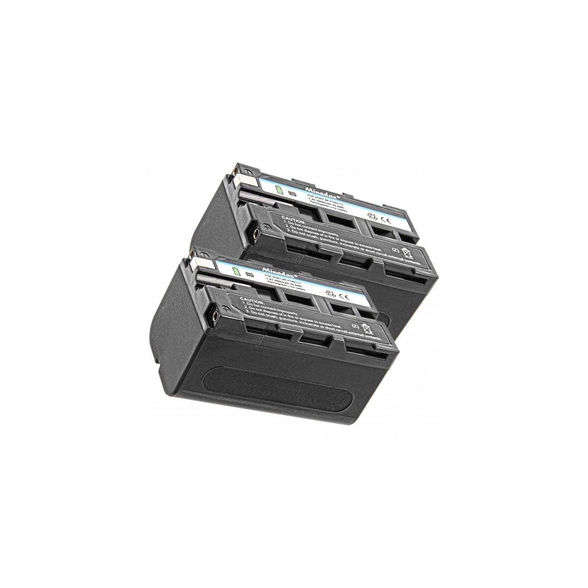 2x Minadax Qualitätsakku mit echten 4400 mAh kompatibel für Sony CCD-TR Series CCD-TRV Series Sony DCR-TRV Series Sony DCS-VX Sony DCR-TV Series etc, Ersatz für NP-F750