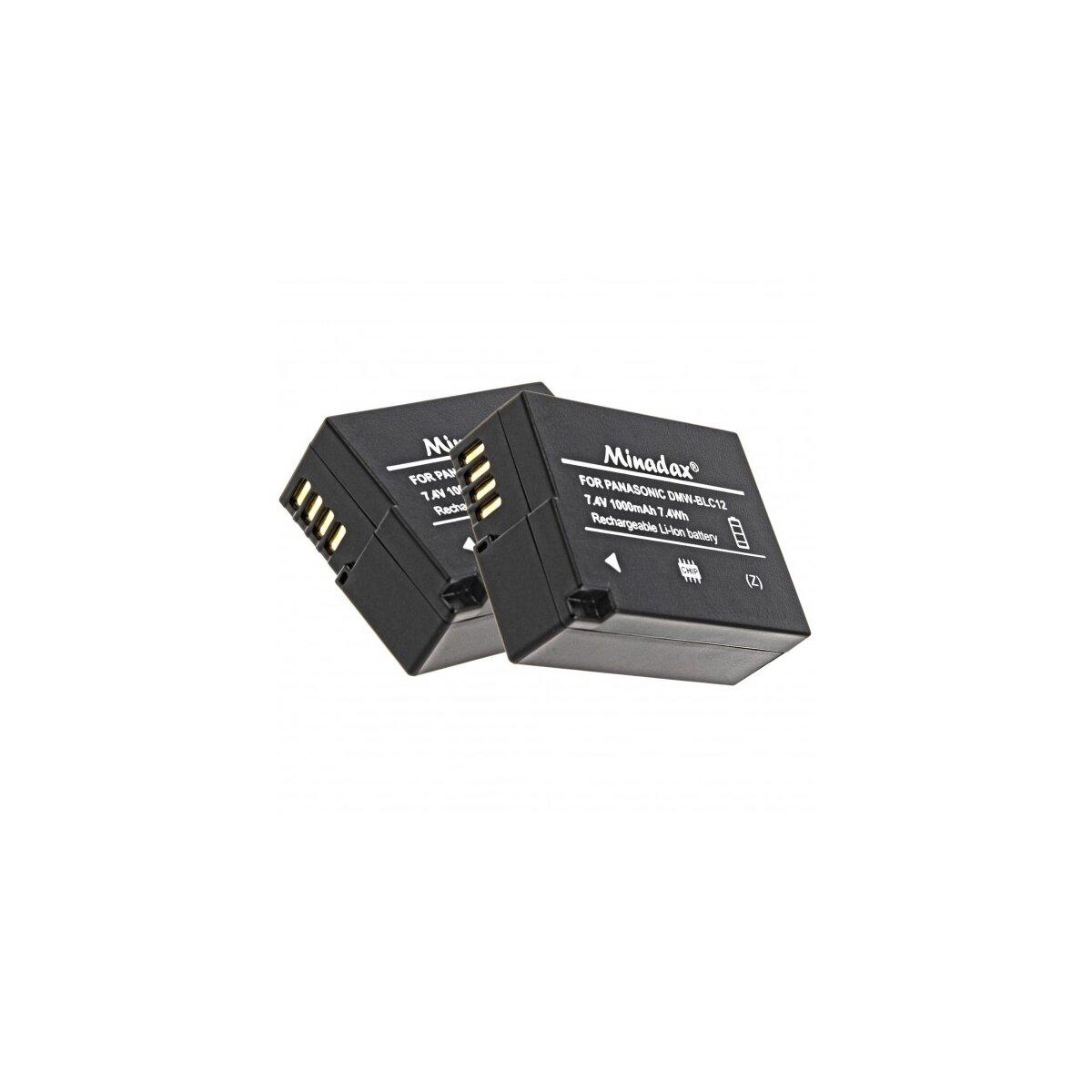 2x Minadax® Qualitaetsakku mit echten 1000 mAh fuer Panasonic GH2, G5X, G5K, G5W, G5, FZ200, wie DMW-BLC12 - Intelligentes Akkusystem mit Chip