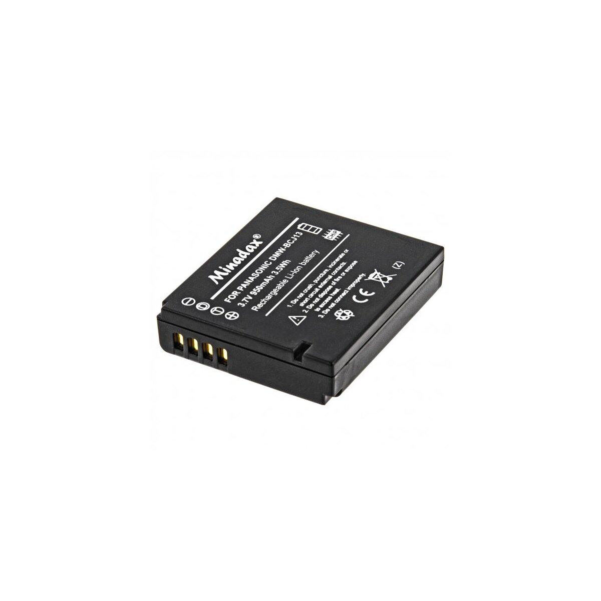 Minadax® Qualitaetsakku mit echten 950 mAh fuer Panasonic DMC-LX5, DMC-LX5K, DMC-LX5W, DMC-LX7, wie DMW-BCJ13 - Intelligentes Akkusystem mit Chip