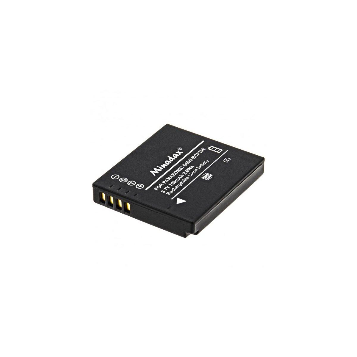 Minadax® Qualitaetsakku mit echten 700 mAh fuer Panasonic FX700 und FS15/FS7/FS6, wie DMW-BCF10E - Intelligentes Akkusystem mit Chip