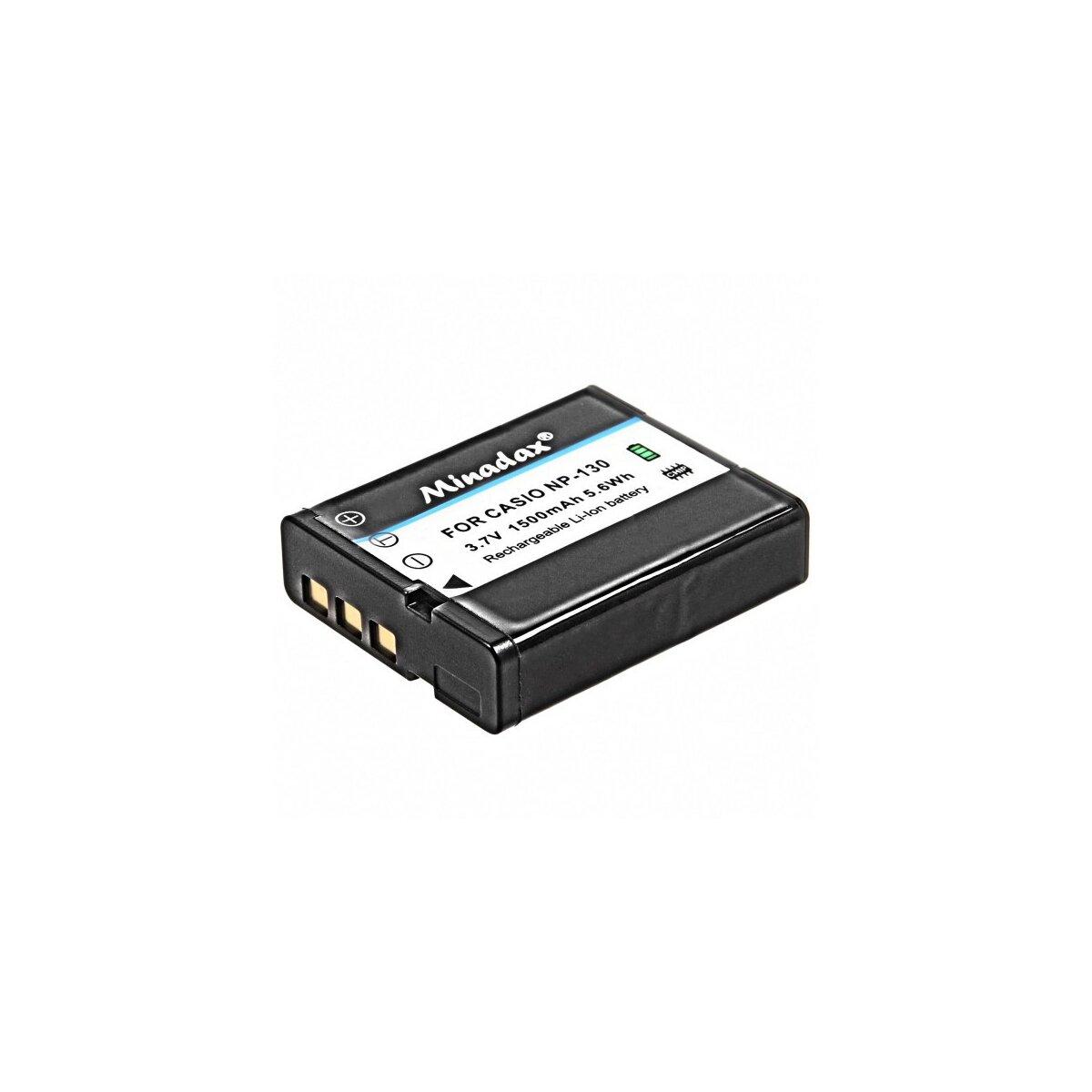Minadax Qualitätsakku mit echten 1500 mAh kompatibel für Casio Ersatz für NP-130 - Intelligentes Akkusystem mit Chip