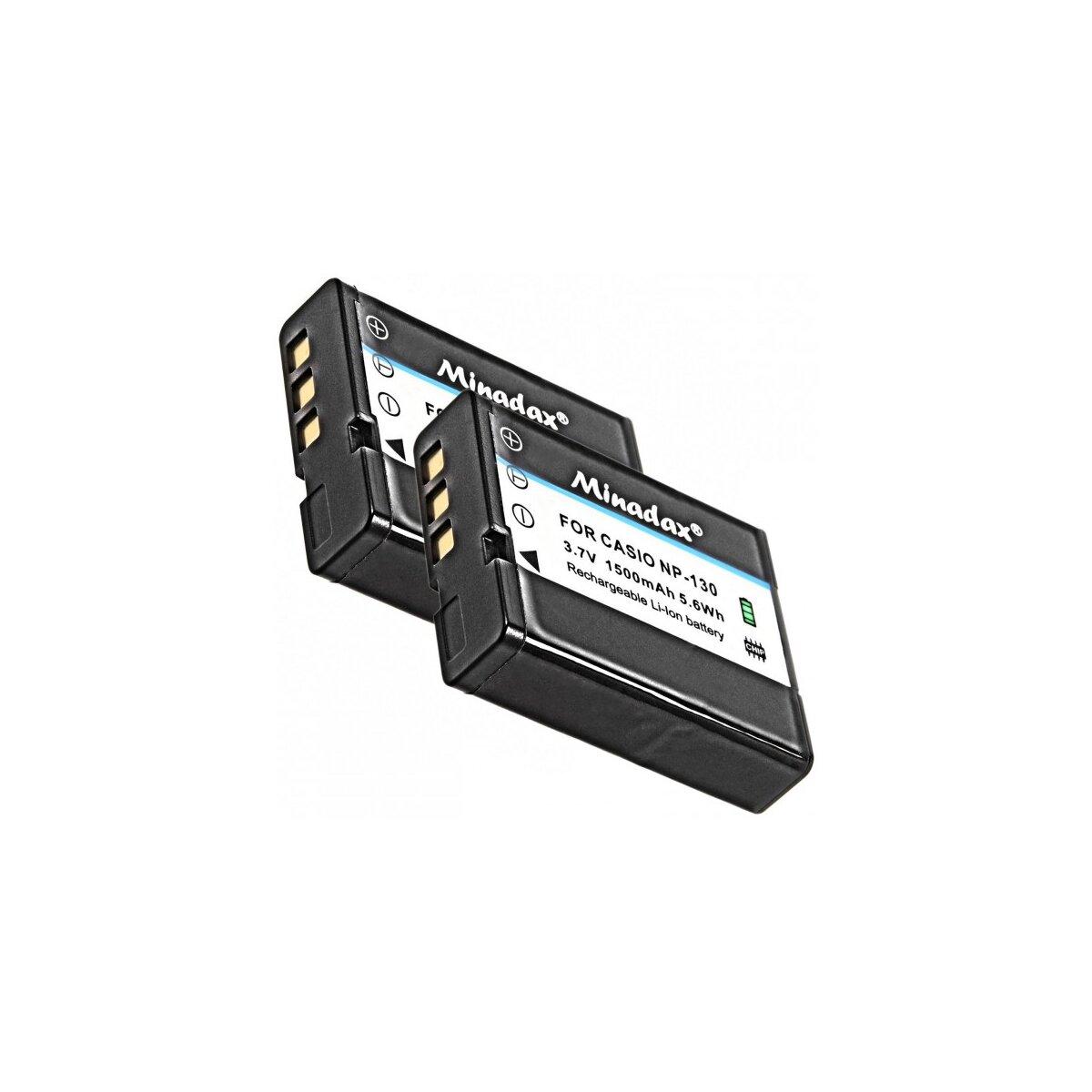 2x Minadax Qualitätsakku mit echten 1500 mAh kompatibel für Casio, Ersatz für NP-130 - Intelligentes Akkusystem mit Chip