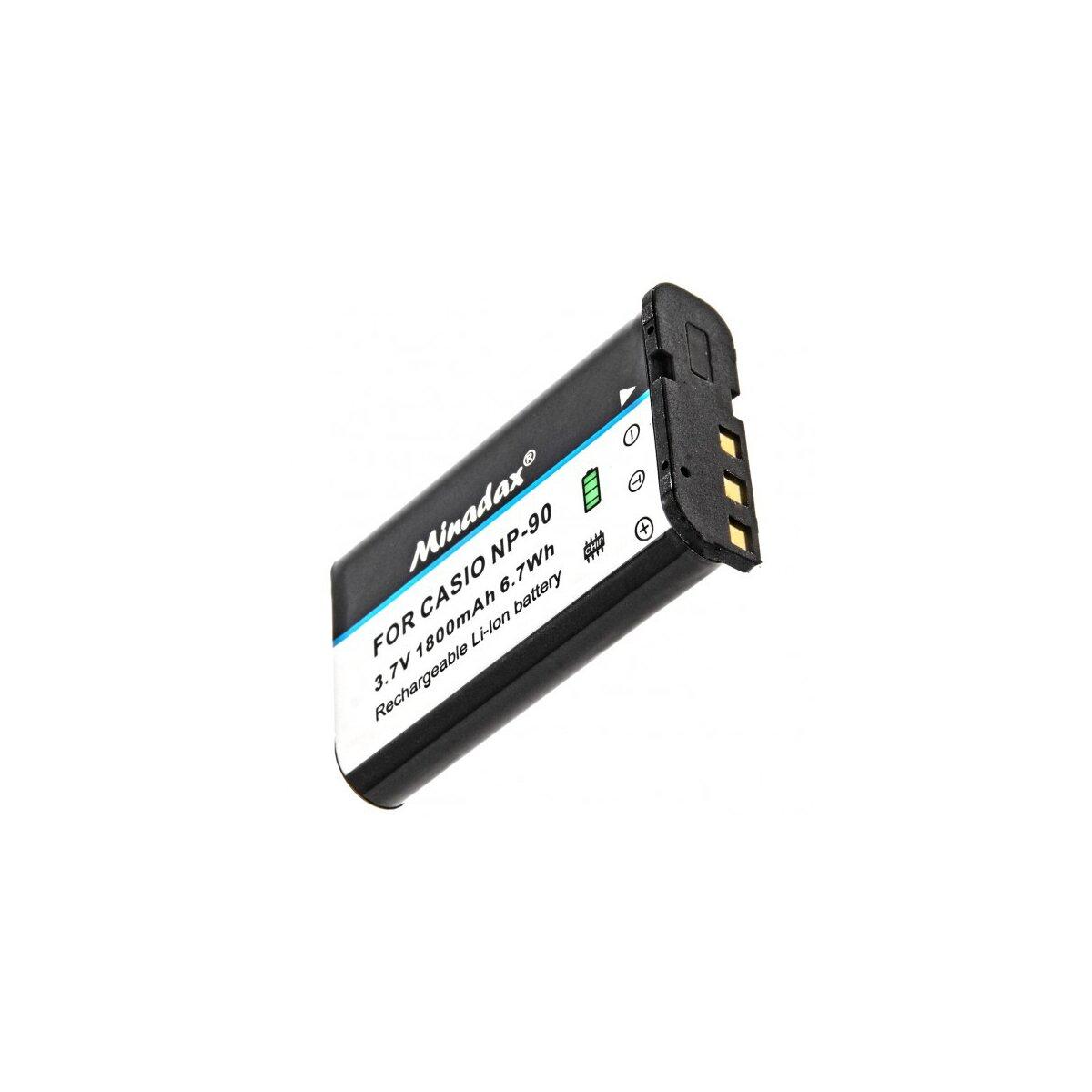 Minadax Qualitätsakku mit echten 1800 mAh kompatibel für Casio Exilim EX-FH100 EX-H10 EX-H15 EX-H20G Ersatz für NP-90 - Intelligentes Akkusystem mit Chip