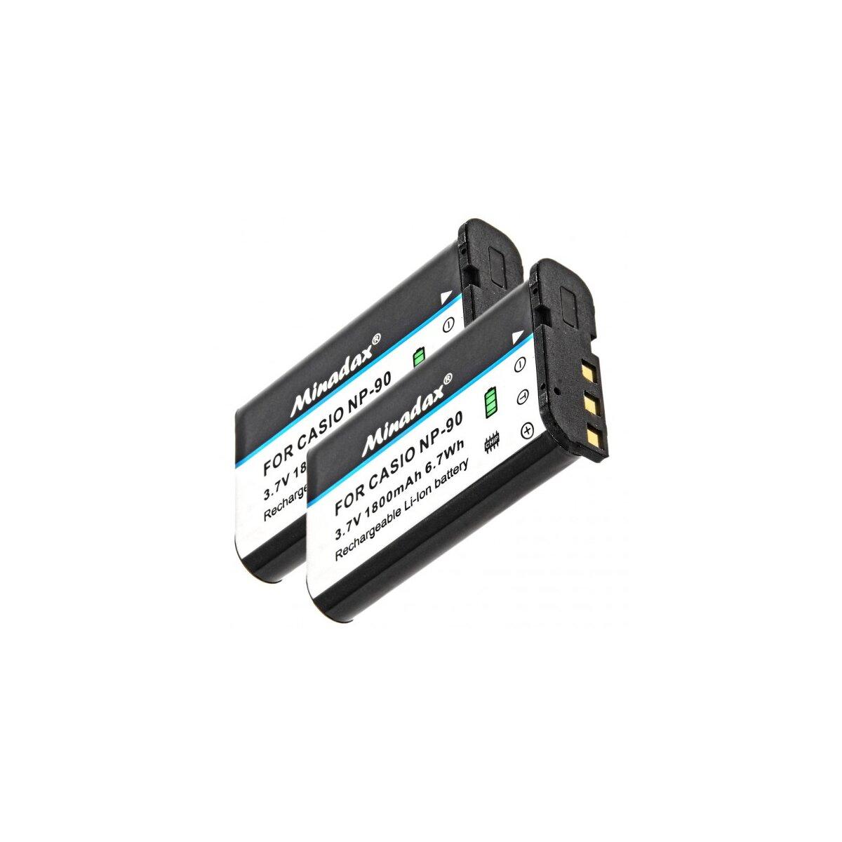 2x Minadax Qualitätsakku mit echten 1800 mAh kompatibel für Casio Exilim EX-FH100, EX-H10, EX-H15, EX-H20G, Ersatz für NP-90 - Intelligentes Akkusystem mit Chip