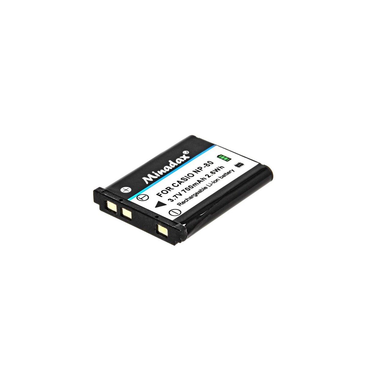 Minadax® Qualitaetsakku mit echten 700 mAh fuer Casio EX-Z1 / EX-Z2 / EX-Z270 / EX-Z280, wie NP-80 - Intelligentes Akkusystem mit Chip