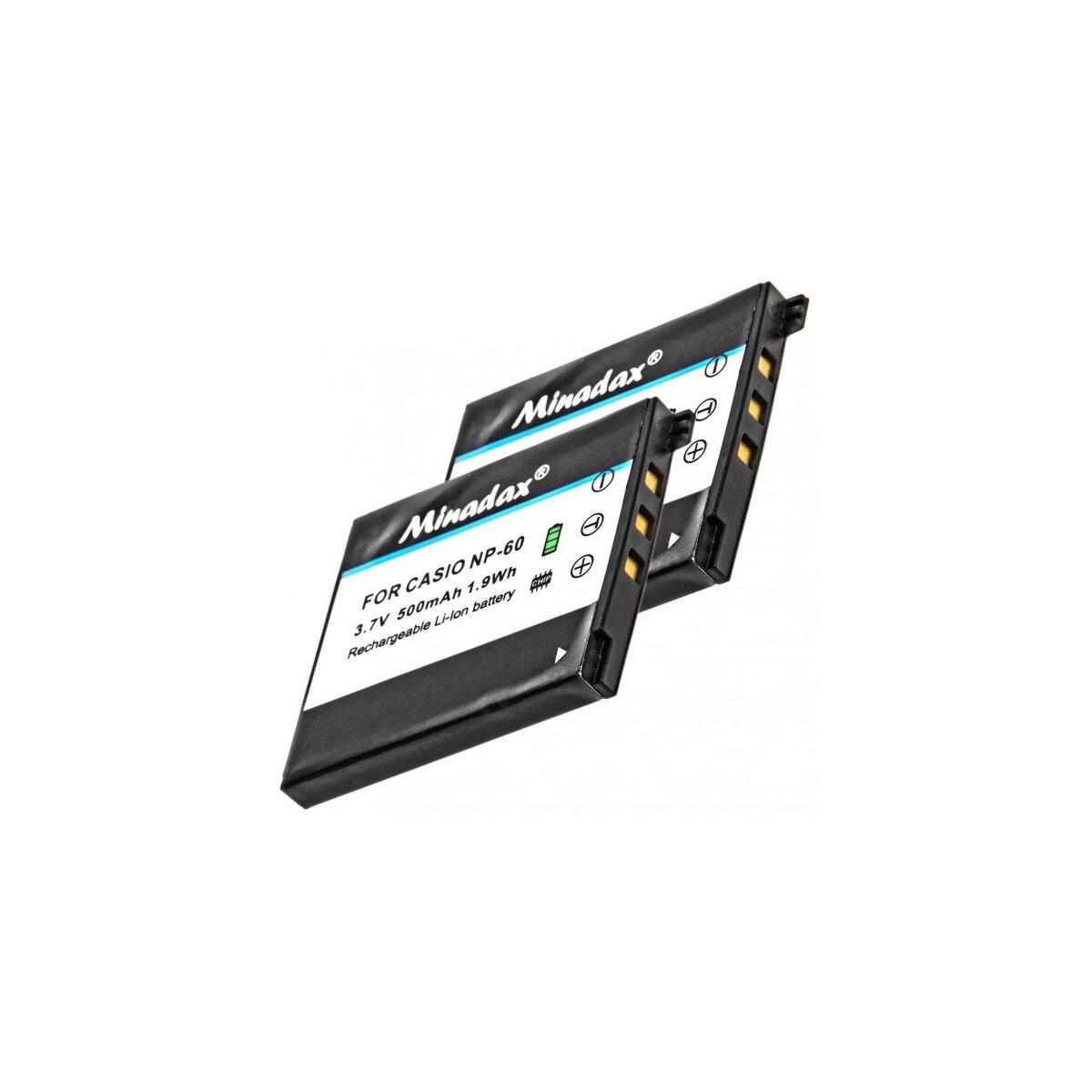 2x Minadax Qualitätsakku mit echten 500 mAh kompatibel für Casio Exilim EX-FS10, EX-S10, EX-S12, EX-Z9, EX-Z21, EX-Z20, EX-Z25, EX-Z80, EX-Z90, Ersatz für NP-60