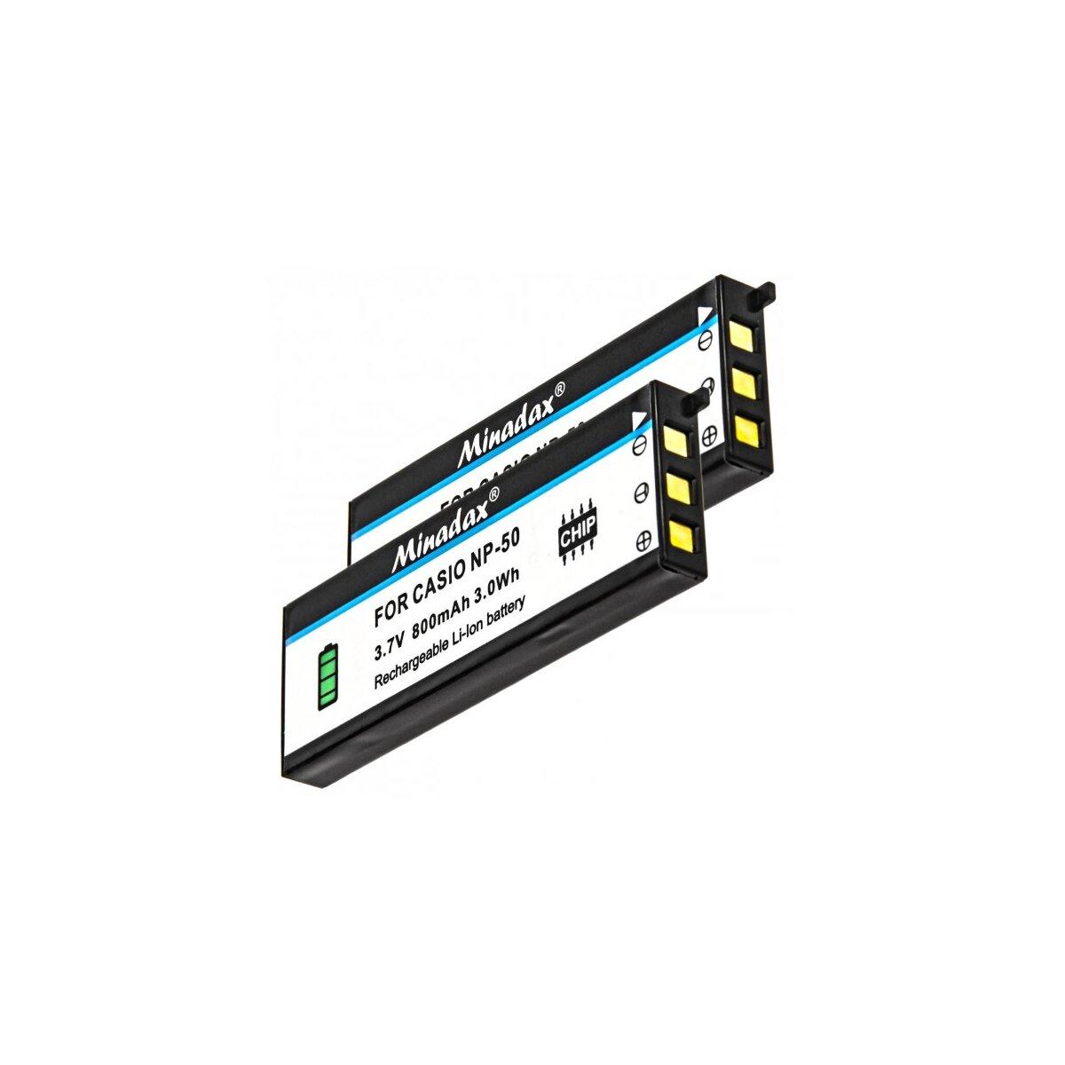 2x Minadax Qualitätsakku mit echten 800 mAh kompatibel für Casio EX-V8, EX-V8SR, Exilim EX-V7SR, Exilim EX-V7 / FUJIFILM X10, Ersatz für NP-50 - Intelligentes Akkusystem mit Chip