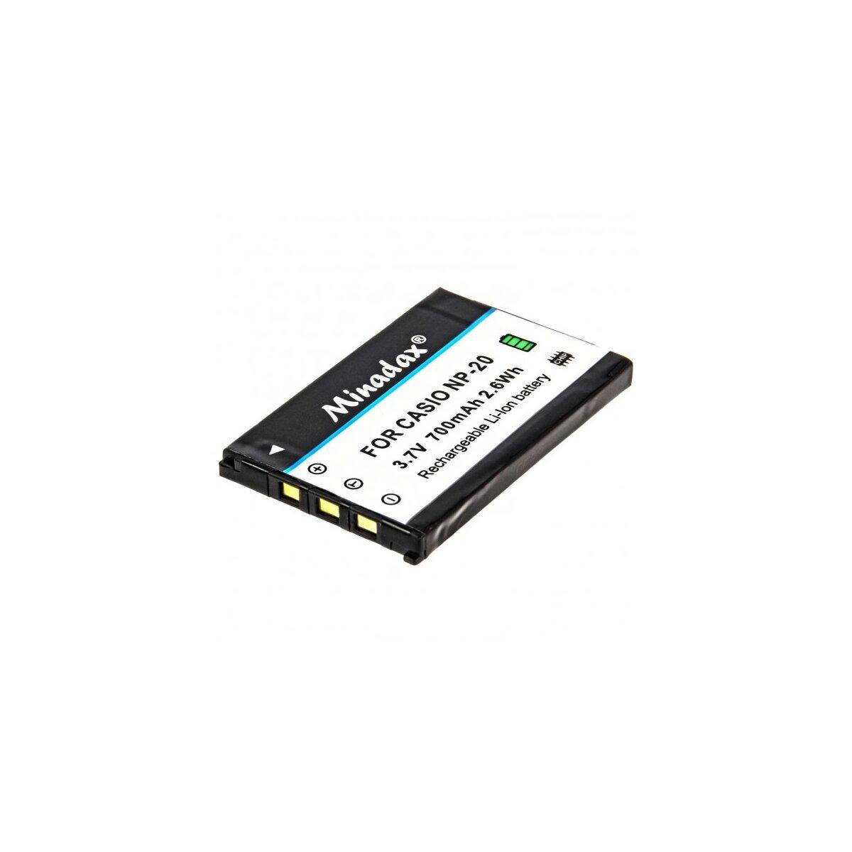 Minadax Qualitätsakku mit echten 700 mAh kompatibel für Casio EX Serie, Ersatz für NP-20 - Intelligentes Akkusystem mit Chip