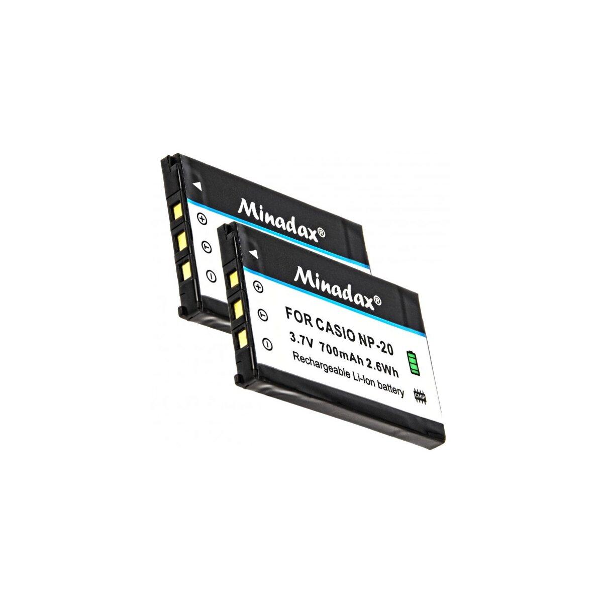 2x Minadax Qualitätsakku mit echten 750 mAh kompatibel für FujiFilm Finepix XF1 X20 X10 F900EXR F850EXR F800EXR F770EXR F750EXR F660EXR F600EXR F550EXR F500EXR  XP200 XP150 XP100 Ersatz für NP-50