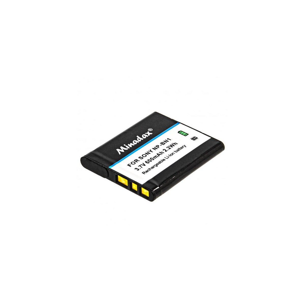 Minadax® Qualitaetsakku mit echten 600 mAh fuer Sony DSC QX10 QX100 -- W830 W810 W730 W710 W610 W620 W630 W650 W670 W690 W510 W530 W550 W560 W570 W580 W320 W350 W180 W190 etc, wie NP-BN1 - Intelligentes Akkusystem mit Chip