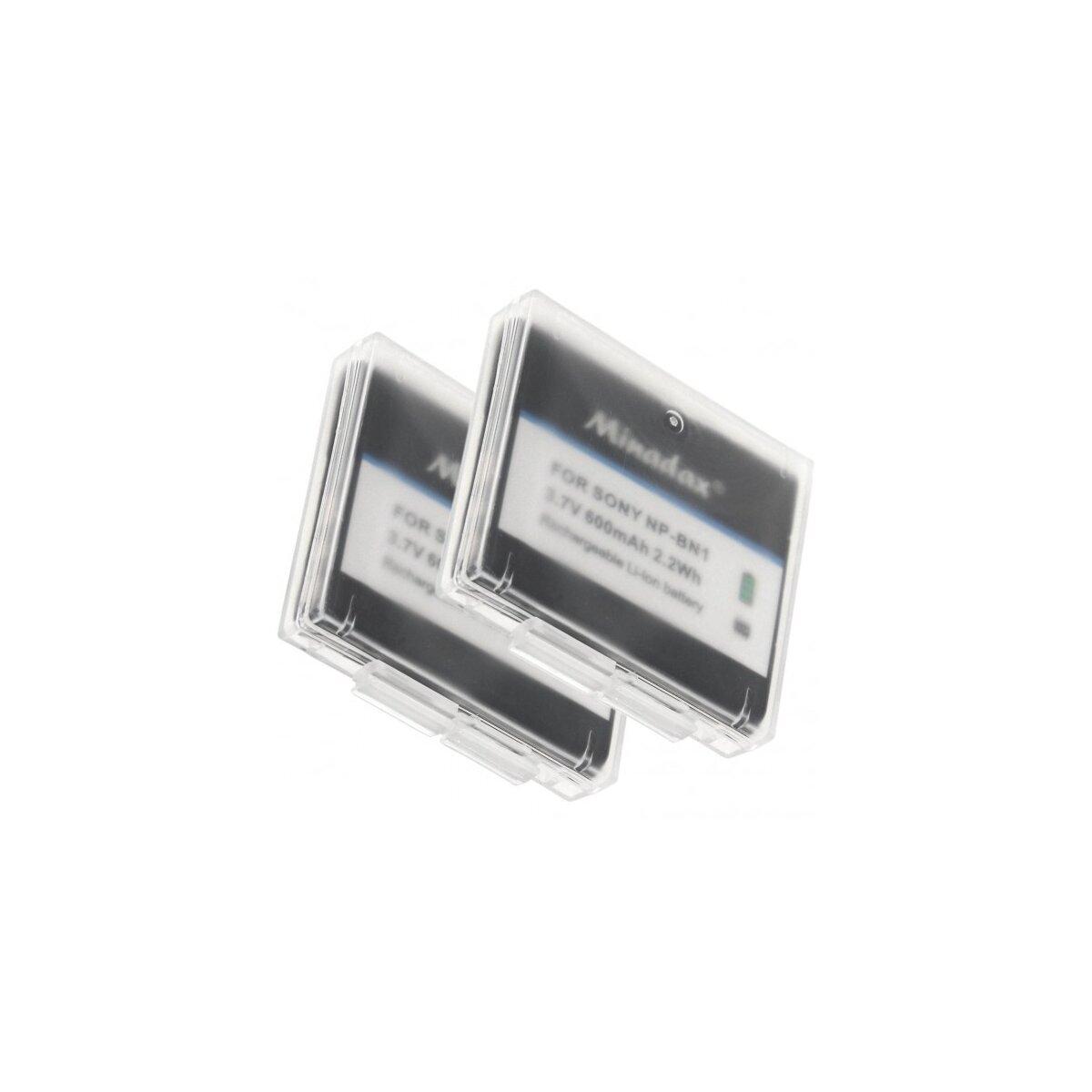 2x Minadax® Qualitaetsakku mit echten 600 mAh fuer Sony DSC QX10 QX100 -- W830 W810 W730 W710 W610 W620 W630 W650 W670 W690 W510 W530 W550 W560 W570 W580 W320 W350 W180 W190 etc, wie NP-BN1 - Intelligentes Akkusystem mit Chip