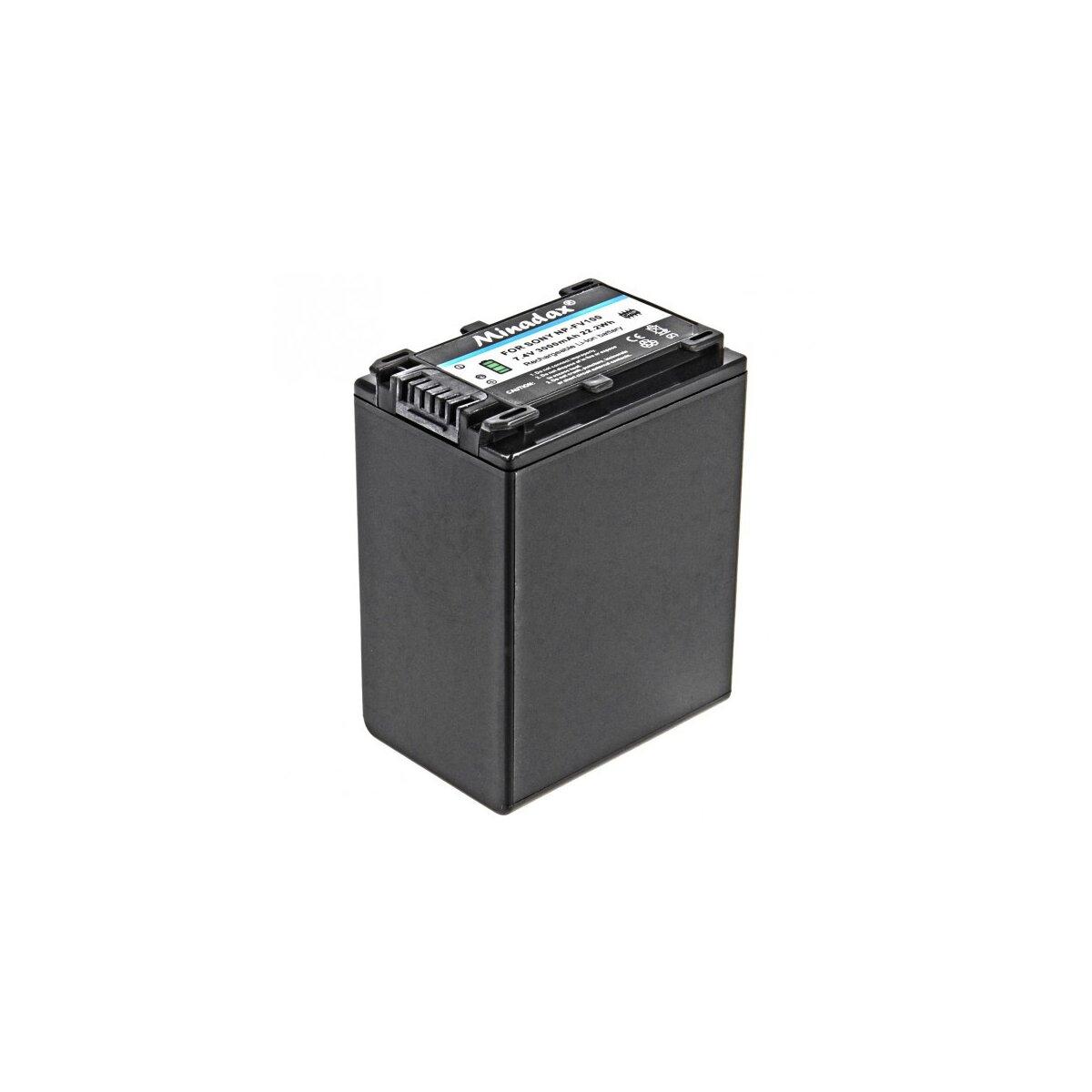 Minadax® Qualitaetsakku mit echten 3000 mAh fuer Sony HDR-XR200E, HDR-XR200VE, HDR-XR350E, HDR-CX100E, CX105E, CX106E, CX110E, CX115E, CX116E, CX11E, CX130E, CX150E, CX155E, CX160E etc..., wie NP-FV100 - Intelligentes Akkusystem mit Chip