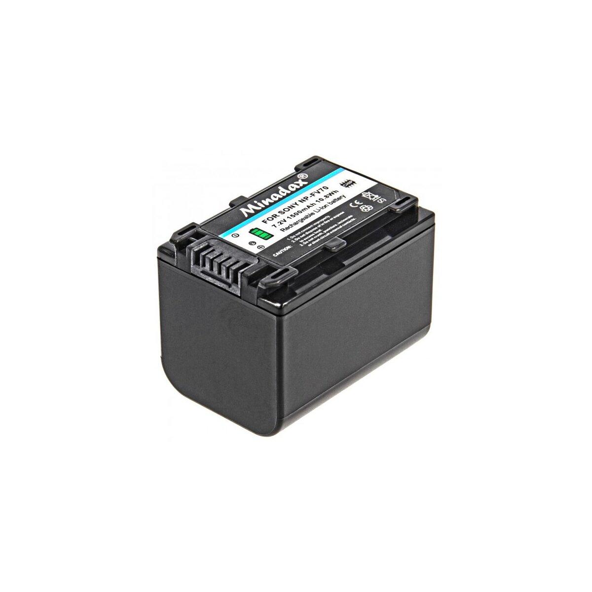 Minadax Qualitätsakku mit echten 1500 mAh kompatibel für Sony HDR CX115E CX190E CX200E CX210E CX220E CX250E CX260VE CX280E CX320E CX410VE CX570E CX730E CX690E CX740VE CX900E etc. Ersatz für NP-FV70