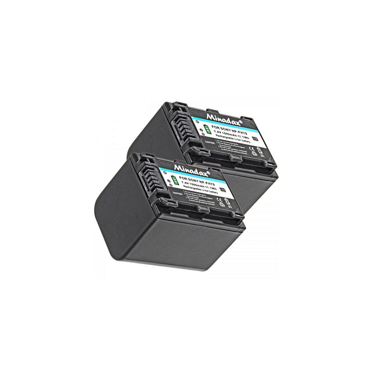2x Minadax Qualitätsakku mit echten 1500 mAh kompatibel für Sony HDR CX115E CX190E CX200E CX210E CX220E CX250E CX260VE CX280E CX320E CX410VE CX570E CX730E CX690E CX740VE CX900E - Ersatz für NP-FV70