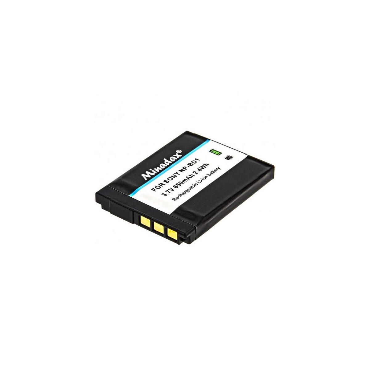 Minadax Qualitätsakku mit echten 650 mAh kompatibel für Sony Cybershot DSC-G3 DSC-T2 DSC-T70 DSC-T75 DSC-T77 DSC-T90 DSC-T200 DSC-T300 DSC-T500 DSC-T700 DSC-T900 DSC-TX1 Ersatz für NP-BD1 / NP-FD1