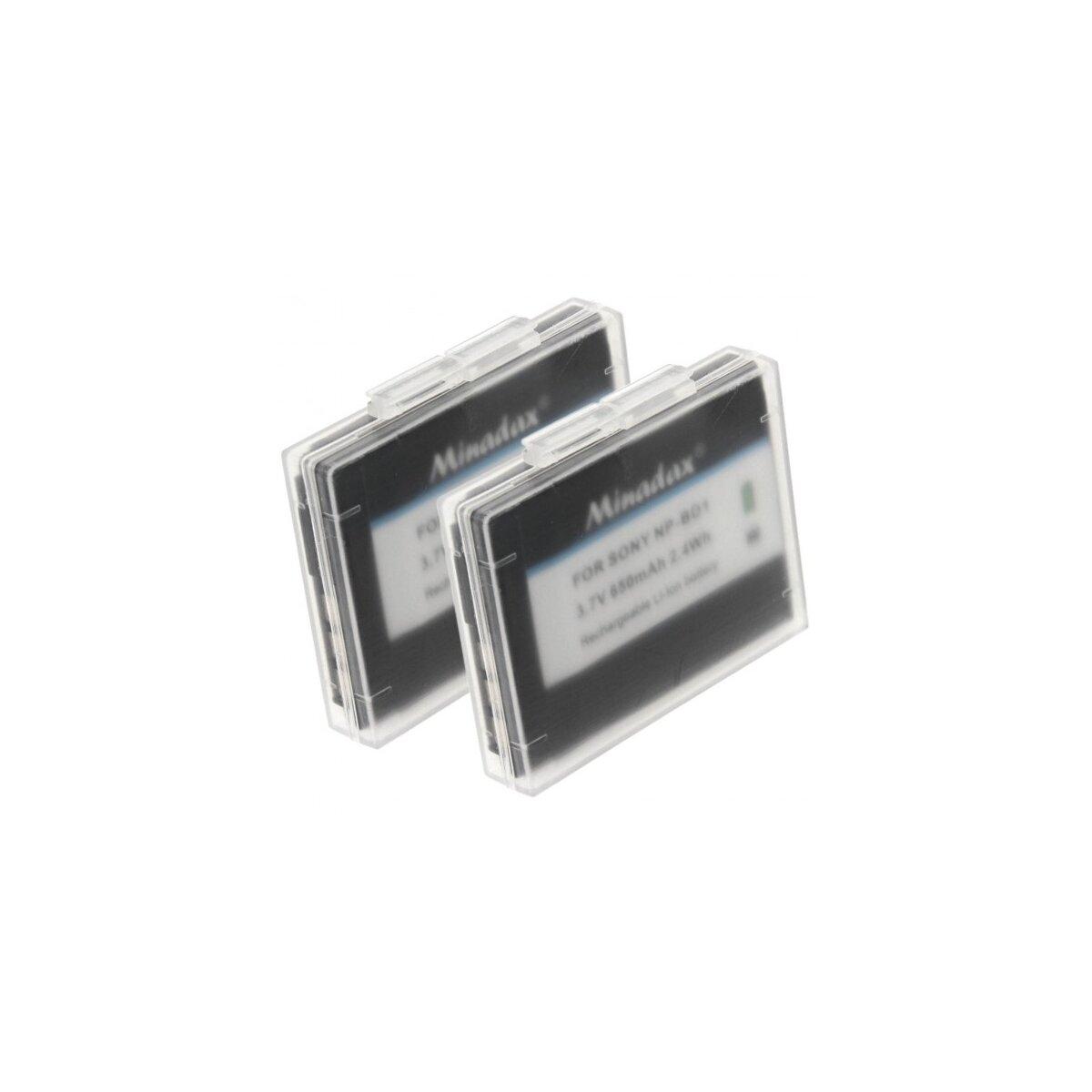 2x Minadax Qualitätsakku mit echten 650 mAh kompatibel für Sony Cybershot DSC- / G3, T2, T70, T75, T77, T90, T200, T300, T500, T700, T900, TX1, Ersatz für NP-BD1 / NP-FD1 - Akkusystem mit Chip
