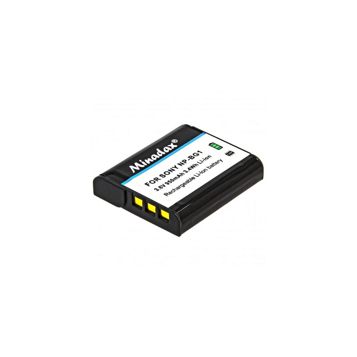 Minadax Qualitätsakku mit echten 950 mAh kompatibel für Sony CyberShot DSC HX20V HX10V HX9V HX7V HX5V H90 H70 H55 WX10 WX1 etc., Ersatz für NP-BG1 - Intelligentes Akkusystem mit Chip