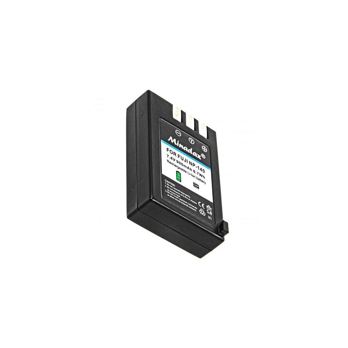 Minadax Qualitätsakku mit echten 900 mAh kompatibel für FujiFilm FinePix S100FS, S200EXR, S205EXR, Ersatz für NP-140 - Intelligentes Akkusystem mit Chip