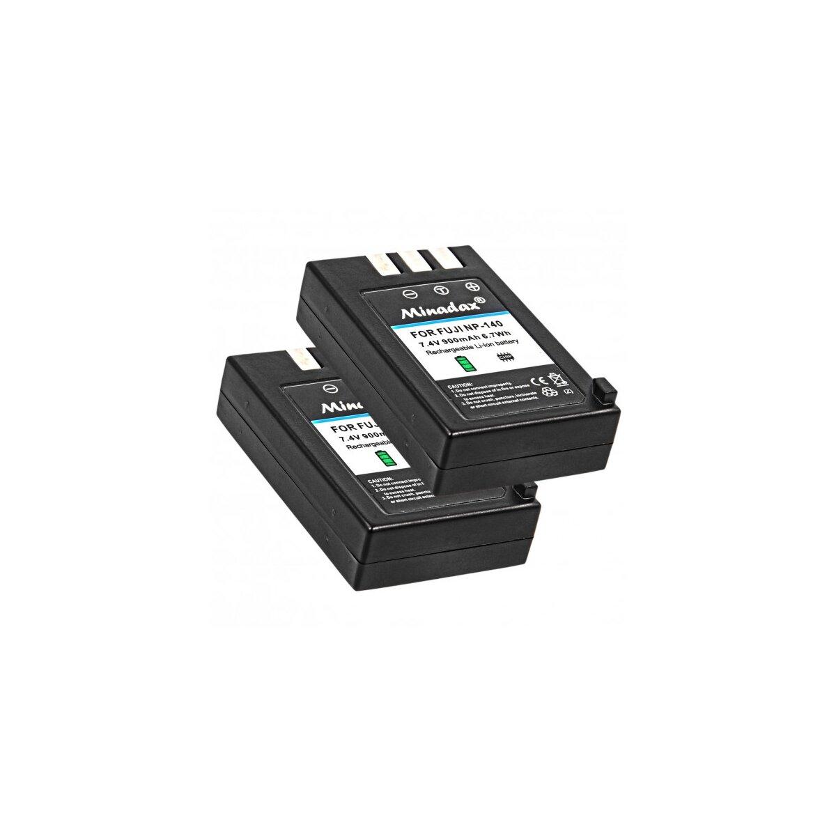 2x Minadax Qualitätsakku mit echten 900 mAh kompatibel für FujiFilm FinePix S100FS, S200EXR, S205EXR, Ersatz für NP-140 - Intelligentes Akkusystem mit Chip