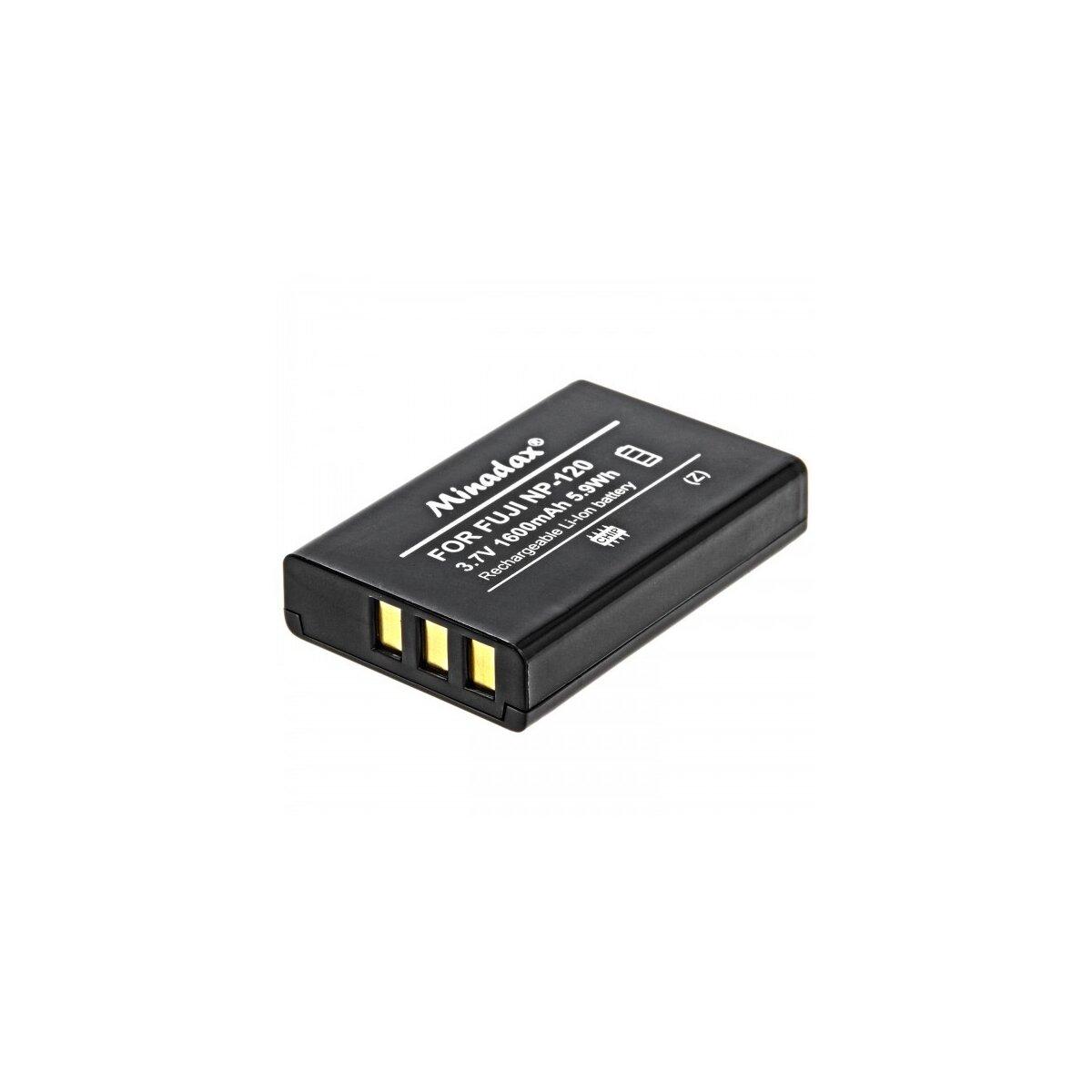 Minadax Qualitätsakku mit echten 1600 mAh kompatibel für FujiFilm FinePix 603, F10, F11, M603, Ersatz für NP-120 - Intelligentes Akkusystem mit Chip