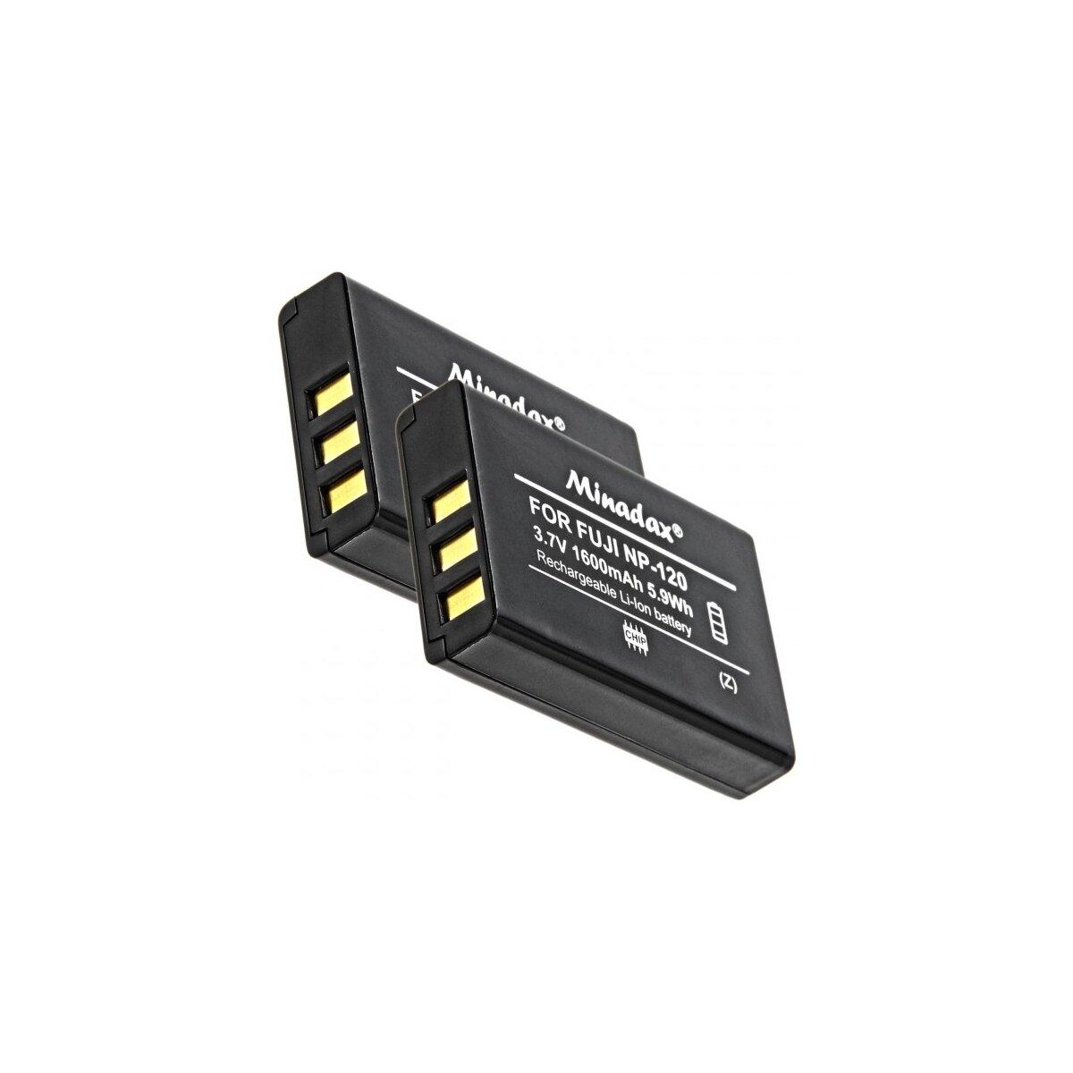 2x Minadax® Qualitaetsakku mit echten 1600 mAh fuer FujiFilm FinePix 603, F10, F11, M603, wie NP-120 - Intelligentes Akkusystem mit Chip