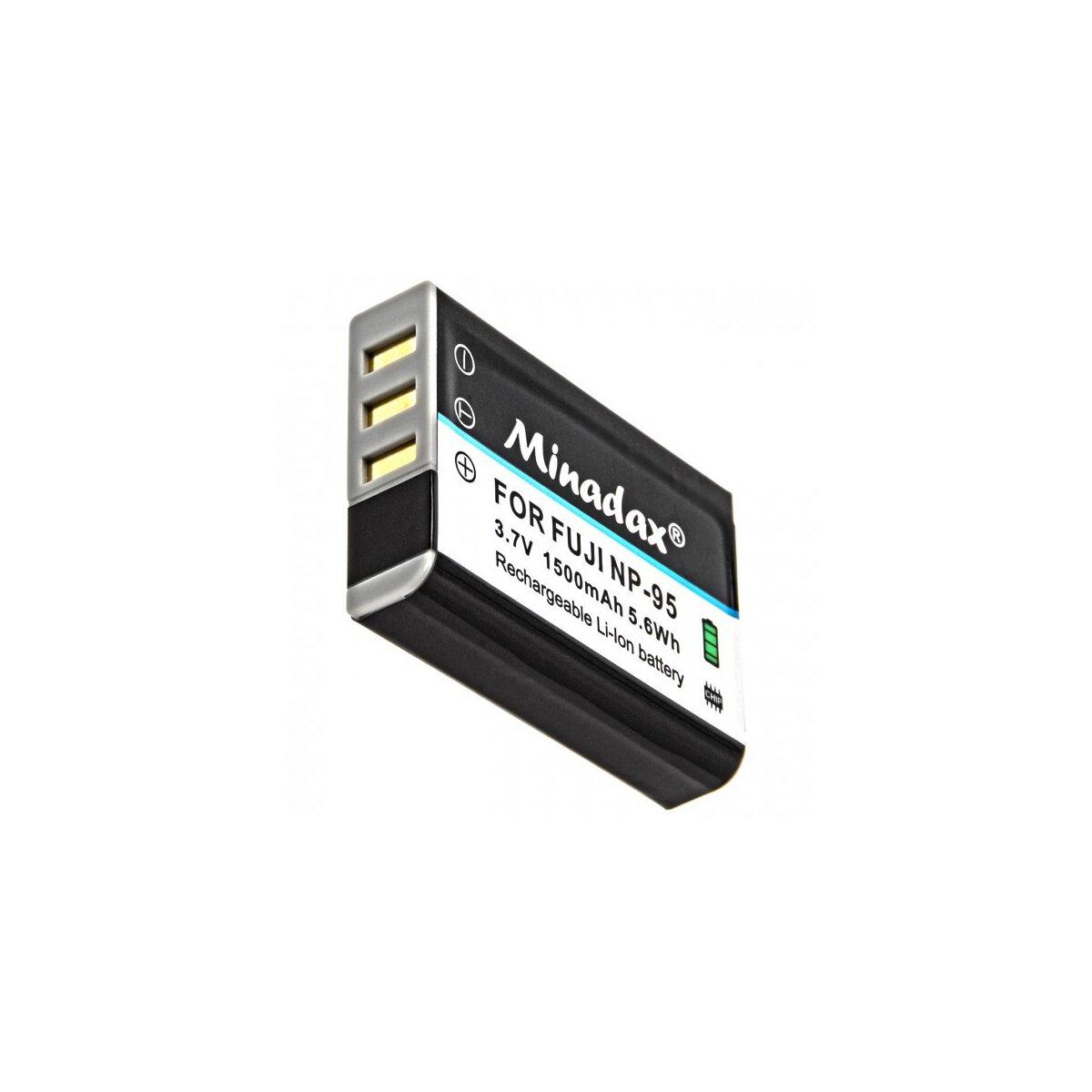 Minadax Qualitätsakku mit echten 1500 mAh kompatibel für FujiFilm Fuji Finepix X100S, X100, F30, X-S1, F31fd, Real 3D W1, BC-65, Ersatz für NP-95 - Intelligentes Akkusystem mit Chip