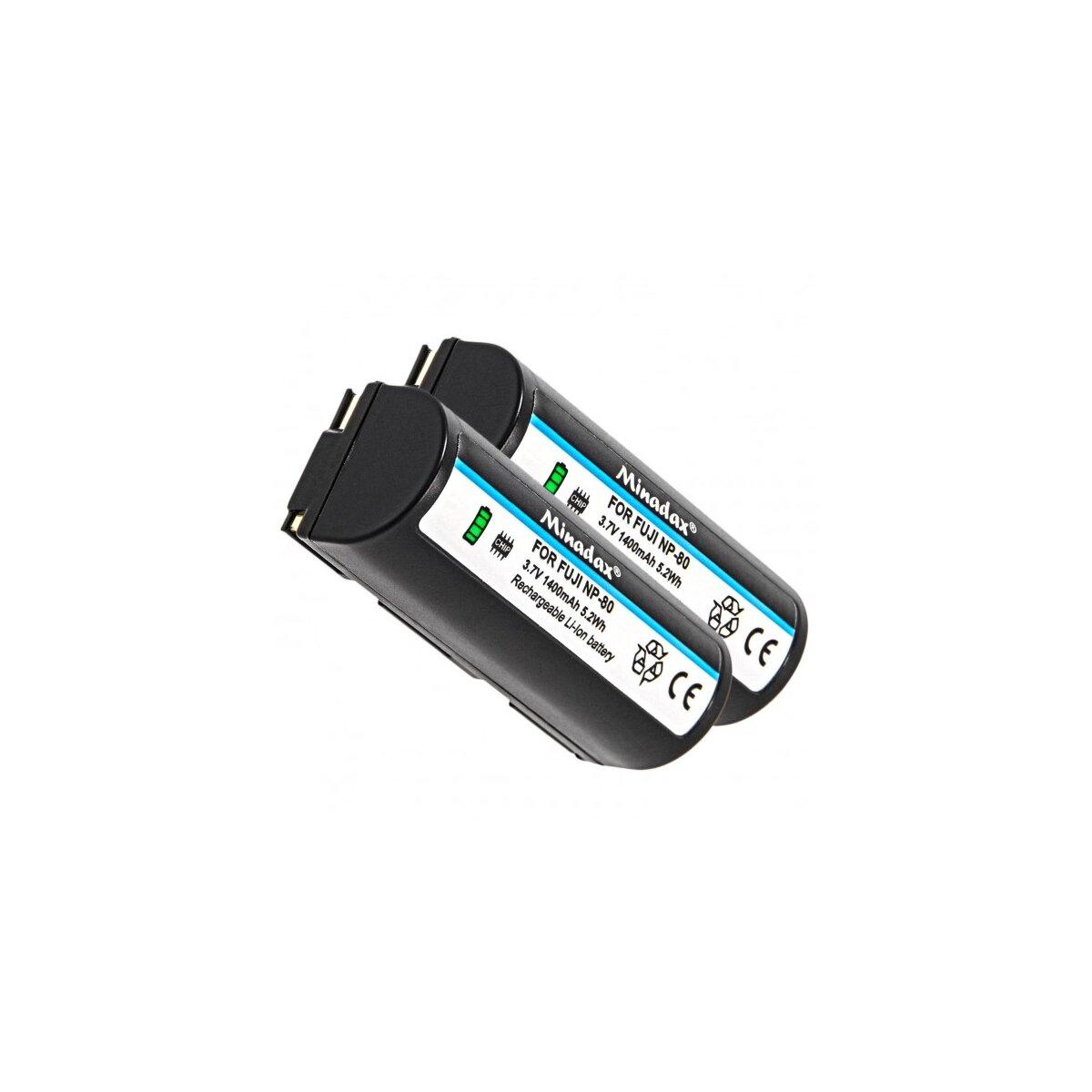 2x Minadax Qualitätsakku mit echten 1400 mAh kompatibel für FujiFilm Finepix 1300 1400 4800 4900 6800 6900 MX1700 MX2700 MX2900 MX600Z, Ersatz für NP-80 - Intelligentes Akkusystem mit Chip