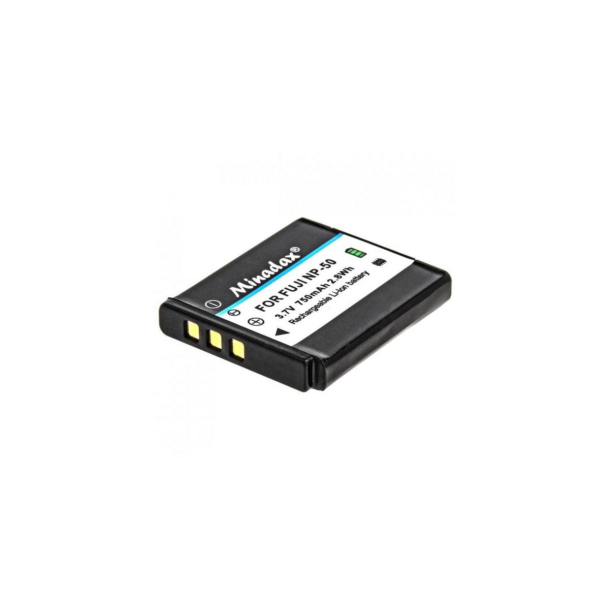 Minadax Akku mit 750 mAh kompatibel für FujiFilm XF1 X20 X10 F900EXR F850EXR F800EXR F770EXR F750EXR F660EXR F600EXR F550EXR F500EXR F300EXR F70EXR Real 3D W3 XP200 XP150 XP100 Ersatz für NP-50