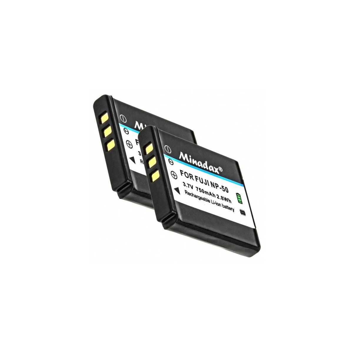 2x Minadax® Qualitaetsakku mit echten 750 mAh fuer FujiFilm Finepix XF1 X20 X10 F900EXR F850EXR F800EXR F770EXR F750EXR F660EXR F600EXR F550EXR F500EXR F300EXR F70EXR, XP200 XP150 XP100, wie NP-50 -Intelligentes Akkusystem mit Chip
