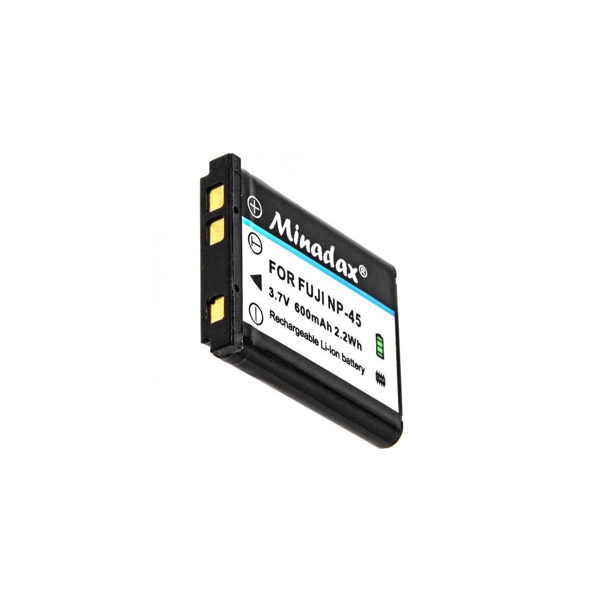 Minadax® Qualitaetsakku mit echten 600 mAh fuer FujiFilm, wie NP-45 - Intelligentes Akkusystem mit Chip