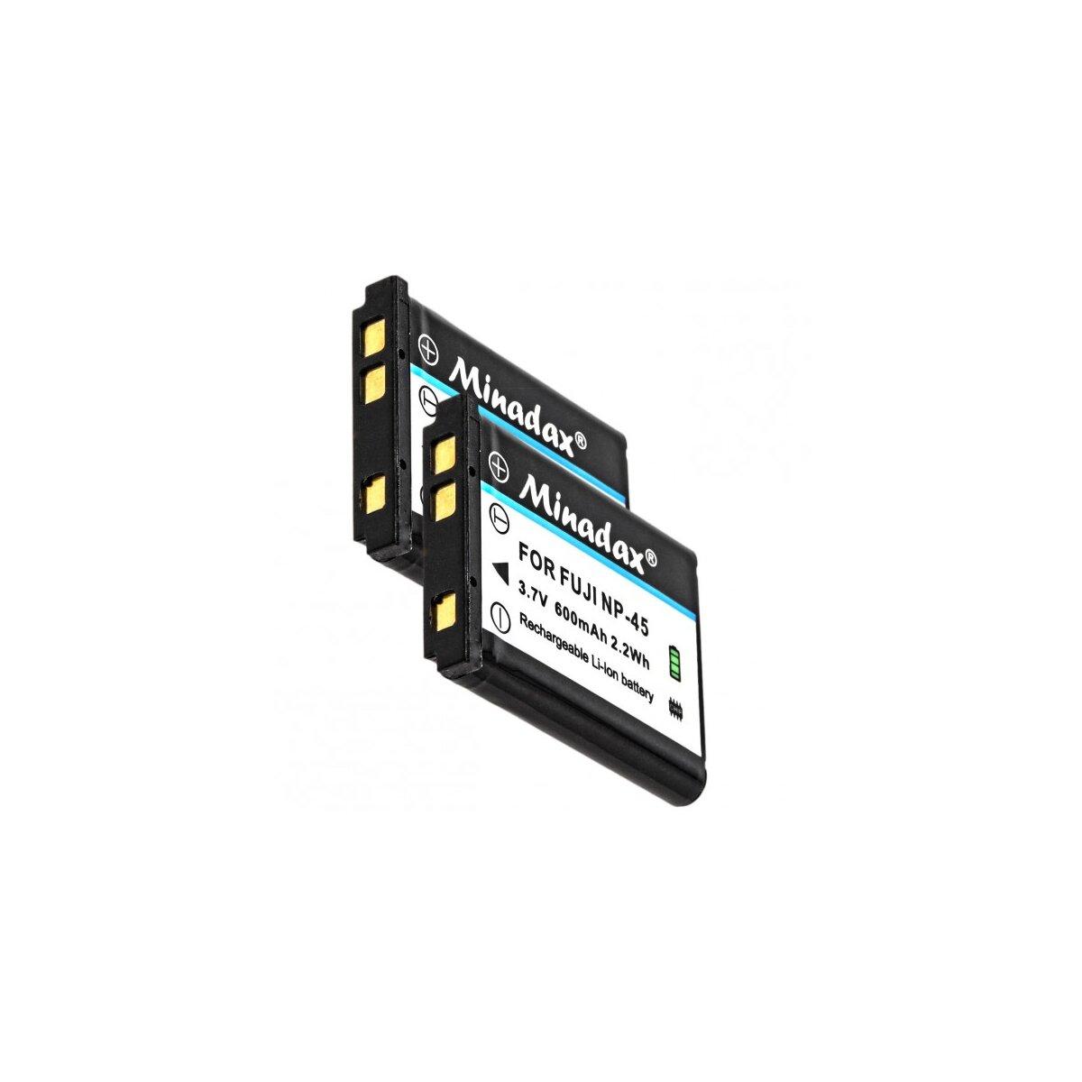 2x Minadax® Qualitaetsakku mit echten 600 mAh fuer FujiFilm, wie NP-45 - Intelligentes Akkusystem mit Chip
