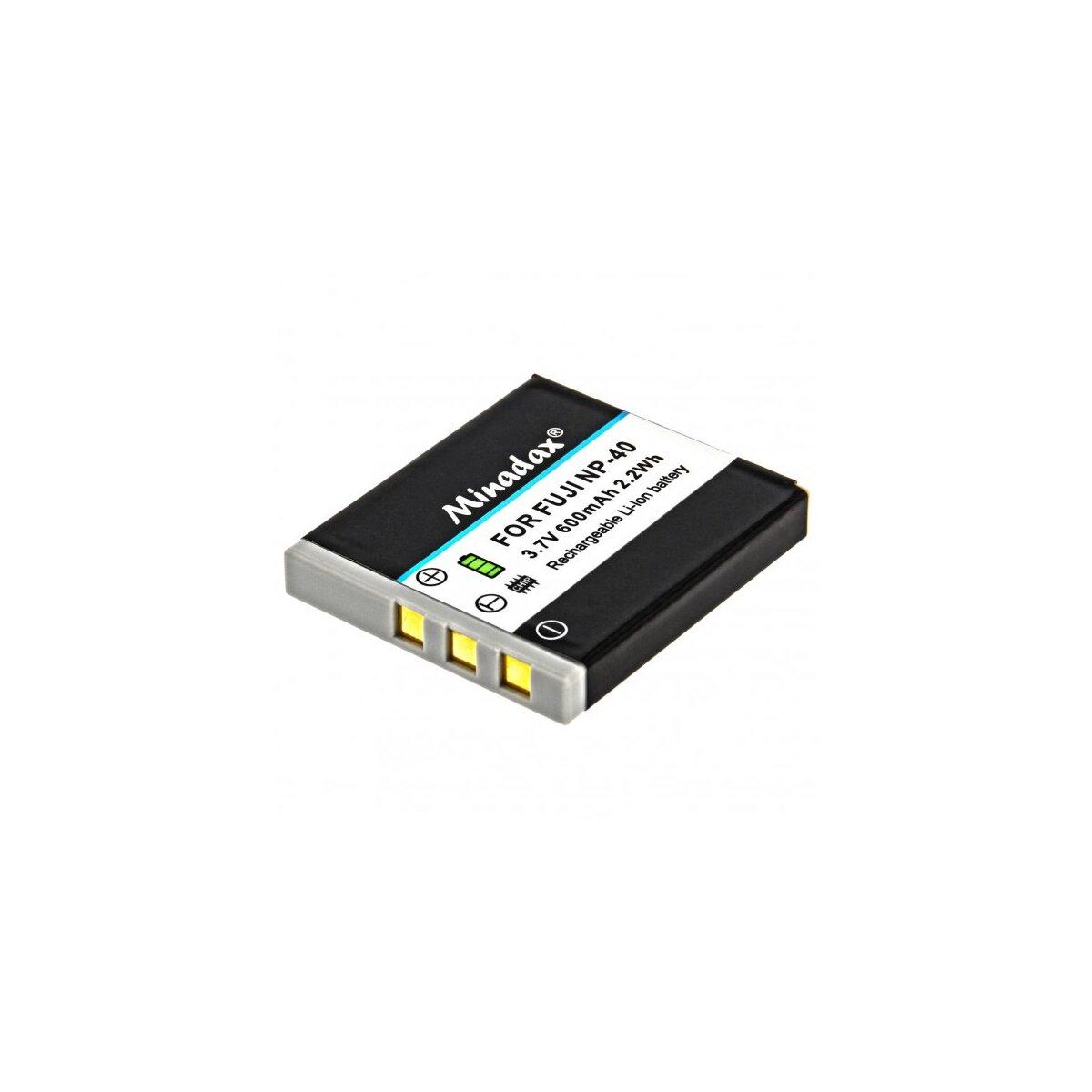 Minadax Qualitätsakku mit echten 600 mAh kompatibel für FujiFilm Ersatz für NP-40 - Intelligentes Akkusystem mit Chip