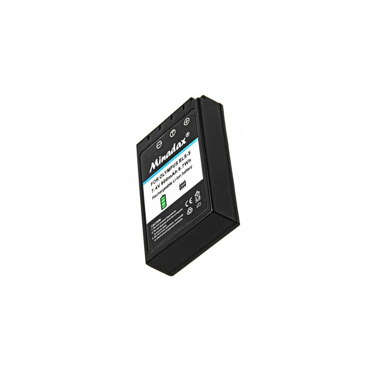 Minadax® Qualitaetsakku mit echten 900 mAh fuer Olympus Stylus 1 PEN E-PL2 E-PL3 E-PL5 E-PL6 E-PL7 E-P3 E-PM1 E-PM2 E-M10, wie BLS-5 - Intelligentes Akkusystem mit Chip
