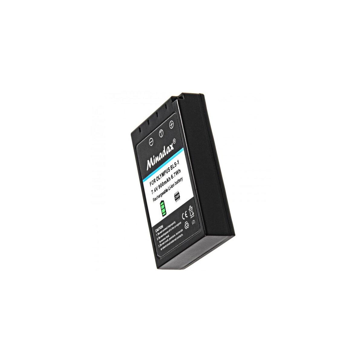 Minadax® Qualitaetsakku mit echten 900 mAh fuer Olympus E 400, E 410, wie BLS-1 - Intelligentes Akkusystem mit Chip
