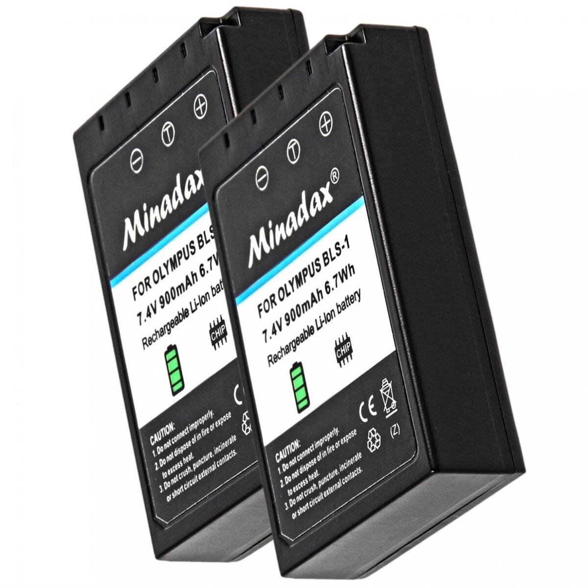 2x Minadax® Qualitaetsakku mit echten 900 mAh fuer Olympus E 400, E 410, wie BLS-1 - Intelligentes Akkusystem mit Chip