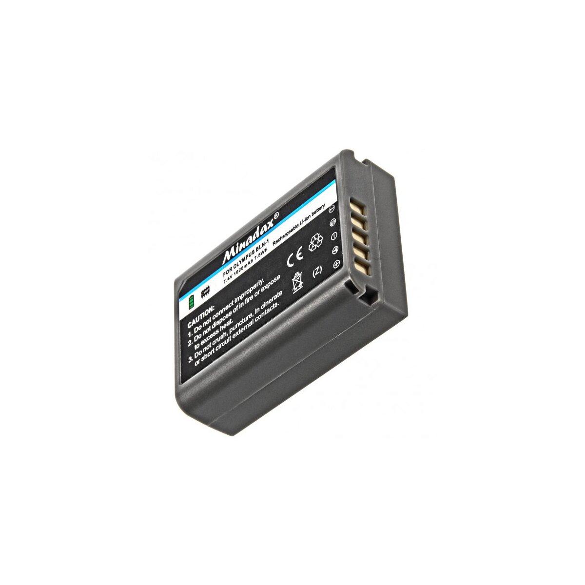 Minadax® Qualitaetsakku mit echten 1020 mAh fuer Olympus OM-D EM5, wie BLN-1 - Intelligentes Akkusystem mit Chip