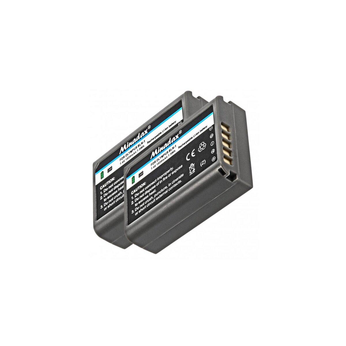 2x Minadax® Qualitaetsakku mit echten 1020 mAh fuer Olympus OM-D EM5, wie BLN-1 - Intelligentes Akkusystem mit Chip