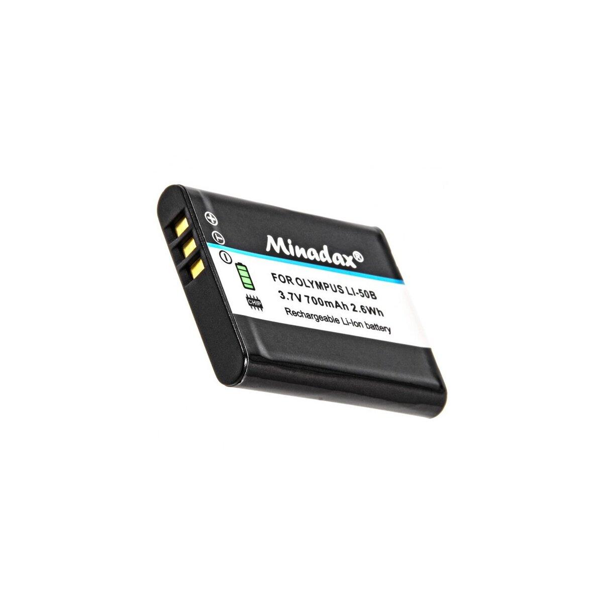 Minadax® Qualitaetsakku mit echten 700 mAh fuer Olympus, wie LI-50B - Intelligentes Akkusystem mit Chip