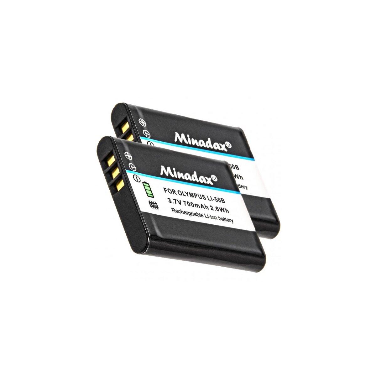 2x Minadax® Qualitaetsakku mit echten 700 mAh fuer Olympus, wie LI-50B - Intelligentes Akkusystem mit Chip