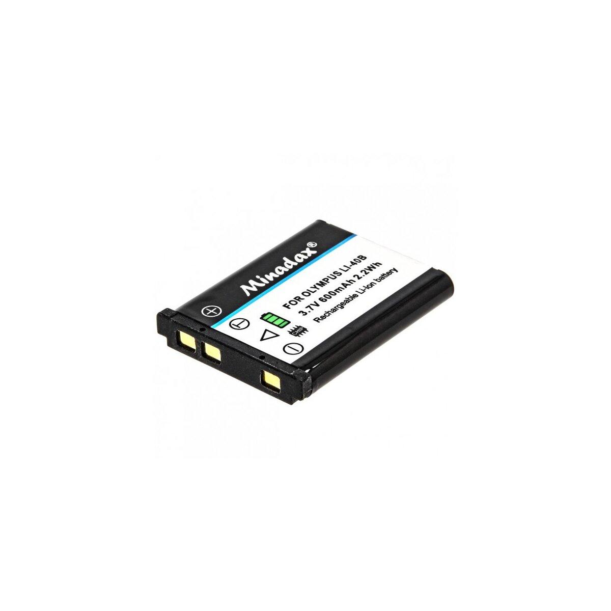 Minadax® Qualitaetsakku mit echten 600 mAh fuer Olympus -wie LI-40B / LI-42B