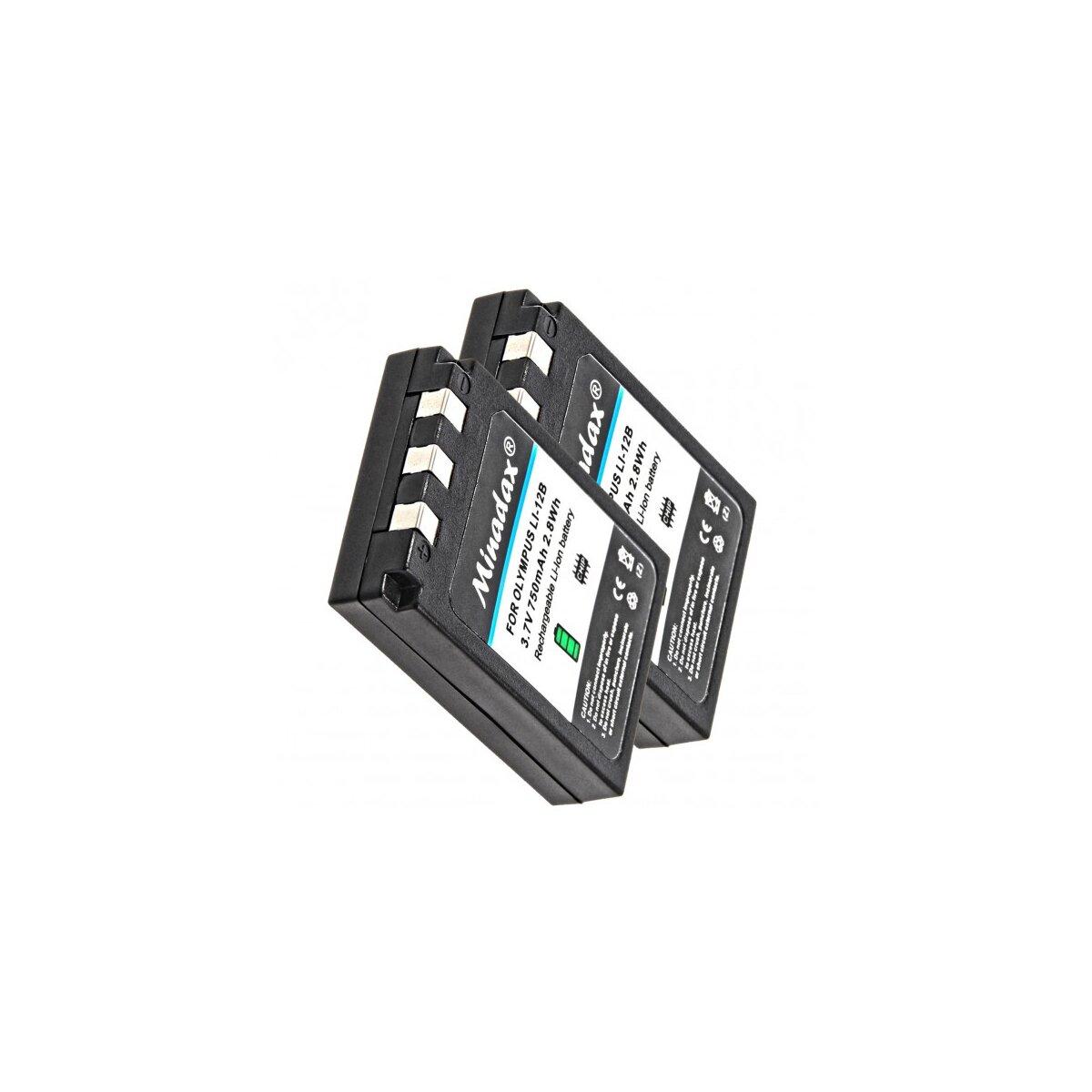 2x Minadax® Qualitaetsakku mit echten 750 mAh fuer Olympus µ 300 400 410, CAMEDIA C-50 C-5000 C-760 C-765 C-770, wie LI-12B - Intelligentes Akkusystem mit Chip